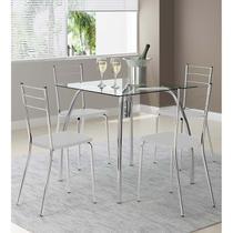 Conjunto Mesa 1502 Vidro Incolor Cromada com 4 Cadeiras 1703 Branca Carraro -