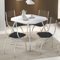 Conjunto Mesa 1504 Branca Cromada com 4 Cadeiras 146 Fantasia Preto Carraro -