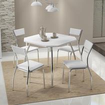 Conjunto Mesa 1504 Branca Cromada com 4 Cadeiras 1701 Branca Carraro -
