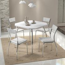 Conjunto Mesa 1504 Branca Cromada com 4 Cadeiras 1701 Fantasia Branco Carraro -