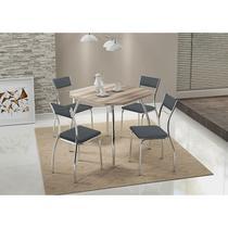 Conjunto Mesa 1504 Branca Cromada com 4 Cadeiras 1701 Jeans Carraro -