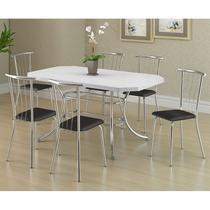 Conjunto Mesa 1507 Branca Cromada com 6 Cadeiras 154 Preta Carraro -