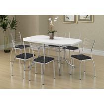 Conjunto Mesa 1507 Branca Cromada com 6 Cadeiras 1700 Fantasia Preto Carraro -