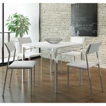 Conjunto Mesa 1525 Branca Cromada com 4 Cadeiras 1709 Branca Carraro -