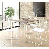 Conjunto Mesa 1525 Nogueira Cromada com 4 Cadeiras 1712 Branca Carraro -