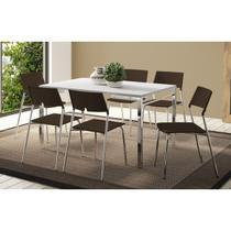Conjunto Mesa 1526 Branca com 6 Cadeiras 1711 Cromada/Cacau Carraro -