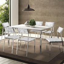 Conjunto Mesa 1526 Branca Cromada com 6 Cadeiras 1709 Fantasia Branco Carraro -