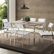 Conjunto Mesa 1526 Nogueira Cromada com 6 Cadeiras 1709 Fantasia Branco Carraro -