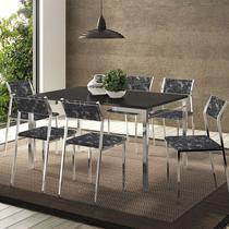 Conjunto Mesa 1526 Preta Cromada com 6 Cadeiras 1709 Fantasia Preta Carraro -