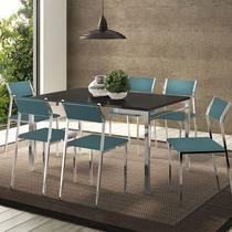 Conjunto Mesa 1526 Preta Cromada com 6 Cadeiras 1709 Turquesa Carraro -