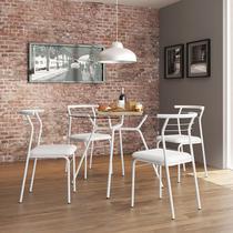 Conjunto Mesa 1527 Vidro Incolor com 4 Cadeiras Color 1708 Branca Carraro -