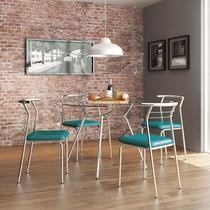 Conjunto Mesa 1527 Vidro Incolor Cromada com 4 Cadeiras 1708 Turquesa Carraro -