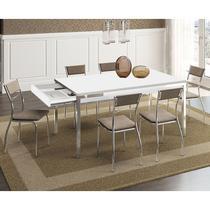Conjunto Mesa 1529 Branca Com Gaveta Cromada com 6 Cadeiras 1701 Camurça Conhaque Carraro -