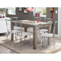 Conjunto Mesa 1543 Anis com 6 Cadeiras 154 Cromada/Branca Carraro -