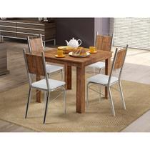 Conjunto Mesa 1555 Native Touch com 4 Cadeiras 1723 Cromada/Branca Carraro -