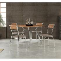 Conjunto Mesa 1557 Native Touch com 4 Cadeiras Cromada 1721 Native/Camurça Conhaque Carraro -
