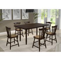 Conjunto Mesa 160x80 com 6 Cadeiras Daiana Castanho Acetinado Estofado Xadrez Caramelo Piratini - Marjorie