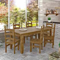 Conjunto Mesa 1,82m e 6 Cadeiras Rústico Corona Ideal P/ Area Externa Madeira Maciça - Deiss