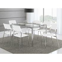 Conjunto Mesa 346 com Vidro Incolor Cromada com 6 Cadeiras 1711 Branca Carraro -