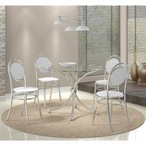 Conjunto Mesa 375 com Vidro Incolor Cromada com 4 Cadeiras 190 Branca Carraro -