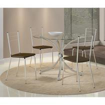 Conjunto Mesa 375 Cromada com 4 Cadeiras 1703 Cromada/Cacau Carraro -