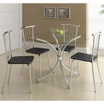 Conjunto Mesa 375 Vidro Incolor Cromada com 4 Cadeiras 154 Fantasia Preto Carraro -