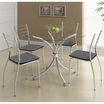 Conjunto Mesa 375 Vidro Incolor Cromada com 4 Cadeiras 1700 Fantasia Preto Carraro -