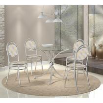 Conjunto Mesa 375 Vidro Incolor Cromada com 4 Cadeiras 190 Retrô Metalizado Carraro -