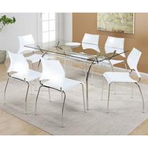 Conjunto Mesa 379 com Vidro Incolor com 6 Cadeiras 357 Branca Carraro -