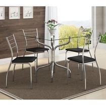 Conjunto Mesa 393 Vidro Incolor Cromada com 4 Cadeiras 1700 Preta Carraro -