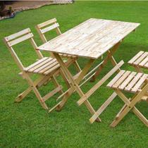 Conjunto Mesa 4 Cadeiras Dobráveis 120cm x 60cm Espresso Móveis Bege -