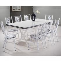 Conjunto Mesa 8 Cadeiras Milano Móveis Brastubo Branco/Preto -