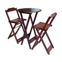 Conjunto Mesa Bistrô Com 2 Cadeiras De Madeira Dobravel Imbuia - Guará