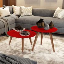 Conjunto Mesa Centro e Lateral Retrô Cissa - Vermelho - Compre Aqui - Rpm Móveis