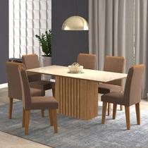Conjunto Mesa Cimol Ana 180x90cm com 6 cadeiras Milena Estofada - Savana/Off White -