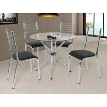 Conjunto Mesa Ciplafe Camila 4 Cadeiras Tampo Vidro Incolor  Slim 90cm Redondo Tubo Cromado -