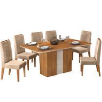 Conjunto Mesa Clara Dj Móveis 6 Cadeiras Lia -