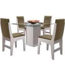 Conjunto Mesa Com 4 Cadeiras E Tampo De Vidro - Amsterdam - Dobuê - Dobue