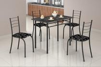 Conjunto Mesa Com 4 Cadeiras Para Cozinha Rio Craqueada Preta - Teixeira