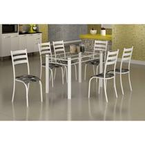 Conjunto Mesa com Tampo Vidro e 6 Cadeiras Madmelos Incolor/Branco/Paraopeba -