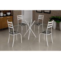 Conjunto Mesa com Tampo Vidro Quadrado e 4 Cadeiras Madmelos Incolor/Branco/Paraopeba -