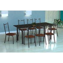 Conjunto Mesa Córdoba 8 Cadeiras Lisboa Tubular Preto Prata Fabone -