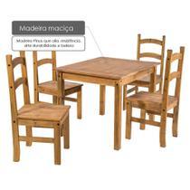 Conjunto Mesa de 100cm x 80cm com 4 Cadeiras Cancun Madeira Maciça Pinus Acabamento Cera - Casatema