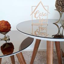 Conjunto Mesa De Canto Lateral Pé Palito Branca com Espelho Bronze 40/50 cm Diâmetro 60/70 cm Altura - Global