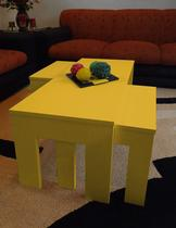 Conjunto Mesa de Centro com 2 mesas de Apoio Laqueada - Amarelo - Formalivre