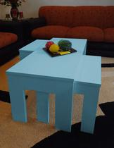 Conjunto Mesa de Centro com 2 mesas de Apoio Laqueada - Azul - Formalivre
