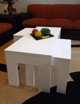Conjunto Mesa de Centro com 2 mesas de Apoio Laqueada - Branco - Formalivre