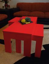 Conjunto Mesa de Centro com 2 mesas de Apoio Laqueada - Vermelho - Formalivre