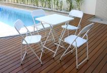Conjunto Mesa de Ferro Metalmix Dobrável com 4 Cadeiras América -
