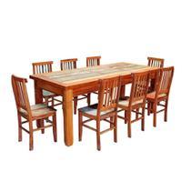 Conjunto Mesa de Jantar 2 M 8 Cadeiras Mineira Madeira de Demolição Pátina - Móveis Brasil